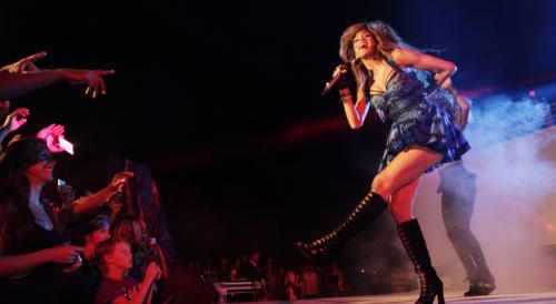 Nicole Scherzinger on stage at The Sun Siyam Iru Fushi, Maldives