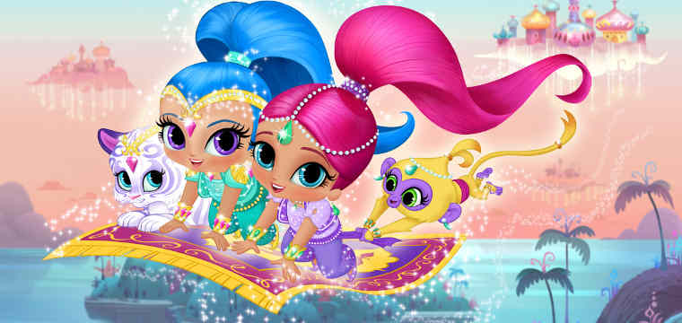 Shimmer & Shine Pictured: (L-R) Nahal, Shine, Shimmer and Tala in new animated preschool series, Shimmer & Shine, coming to Nickelodeon in 2015.