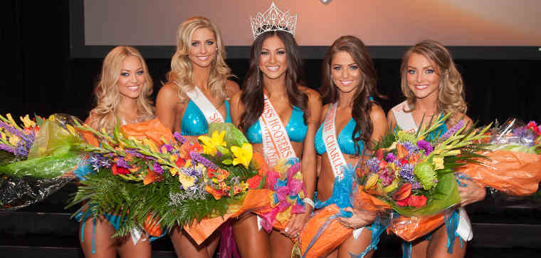 Miss Hooters International 2014 Top 5 Winners L-R: Ashley Dill, Rachel Mundwiller, Janet Layug, Meagan Pastorchik, Sable Robbert.