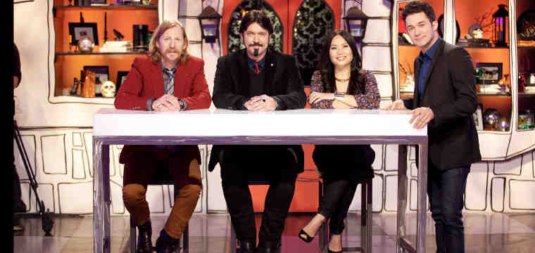 Guest Judge Lew Temple with judges Brian Kinney, Shinmin Li, and Host Justin Willman on Food Network's Halloween Wars