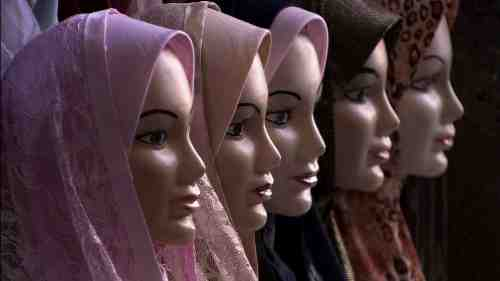Mannequins with hijabs on.