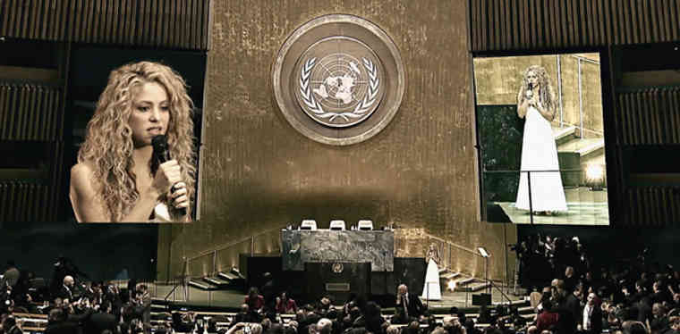 Shakira singing Imagine in UNGA
