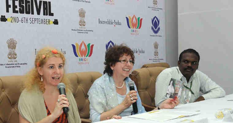 The Director of Leo Tolstoy and Mahatma Gandhi, Anna Evtushenko and Galina Evtushenko addressing a press conference, during the BRICS Film Festival, in New Delhi on September 03, 2016