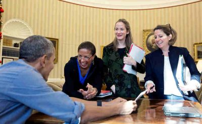 President Obama with his key national security aides, from left, National Security Advisor Susan E. Rice, Homeland Security Advisor Lisa Monaco, and Deputy National Security Avril Haines - file photo (Official White House Photo by Pete Souza)