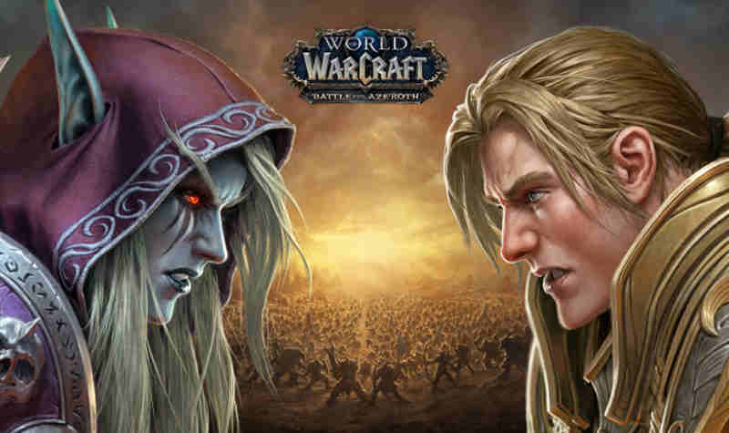 Sylvanas Windrunner and Anduin Wrynn face off in World of Warcraft: Battle for Azeroth.