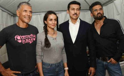 Rajyavardhan Singh Rathore with Suniel Shetty, Gul Panag and Milind Sonam, at the Fit India Campaign, in New Delhi on May 26, 2018