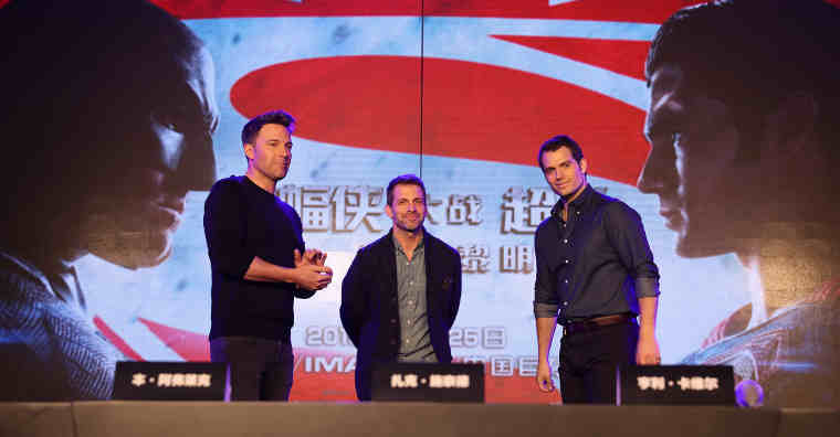 Ben Affleck, director Zack Snyder and Henry Cavill at a Chinese press conference for Warner Bros. Pictures' Batman v Superman: Dawn of Justice, held in Beijing, China, on Friday, March 11, 2016