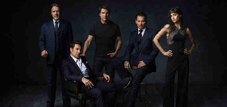Dark Universe stars (L to R) RUSSELL CROWE, JAVIER BARDEM, TOM CRUISE, JOHNNY DEPP and SOFIA BOUTELLA