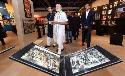Narendra Modi and dignitaries during inauguration of National Museum of Indian Cinema in Mumbai on January 19, 2019